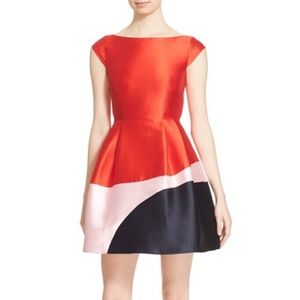 Kate Spade red pink fit flare cocktail dress 8